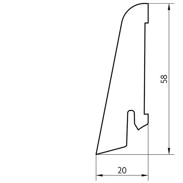 Laminat Sockelleiste foliert mit MDF-Kern Eiche Barbarossa 17x60x2400mm