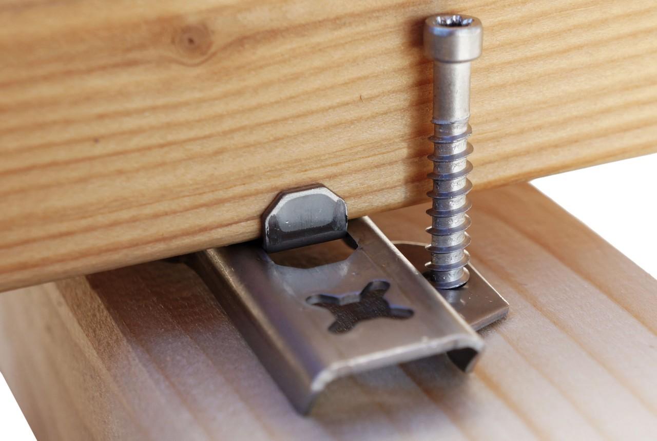 befestigungssysteme f r holz und wpc terrassen terrasse ratgeber meyer parkett de online shop. Black Bedroom Furniture Sets. Home Design Ideas