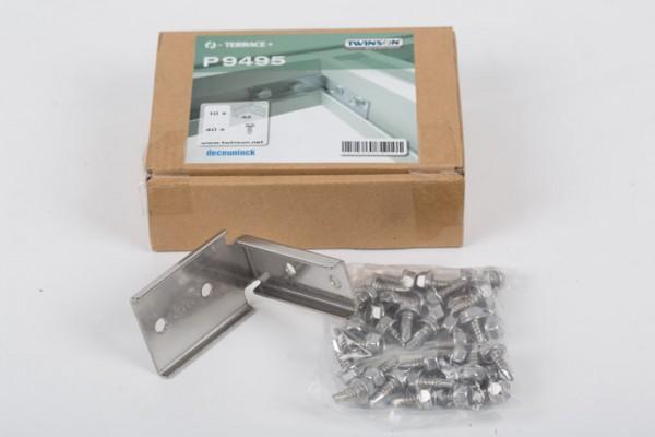 Twinson Eckverbinder aus Edelstahl zum Rahmenbau für Alu-UK 50 x 80 mm