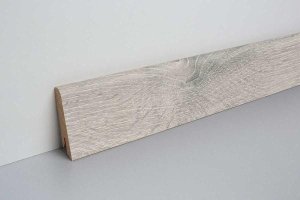 Laminat Sockelleiste foliert mit MDF-Kern Raydon Eiche weiss 17x60x2400mm