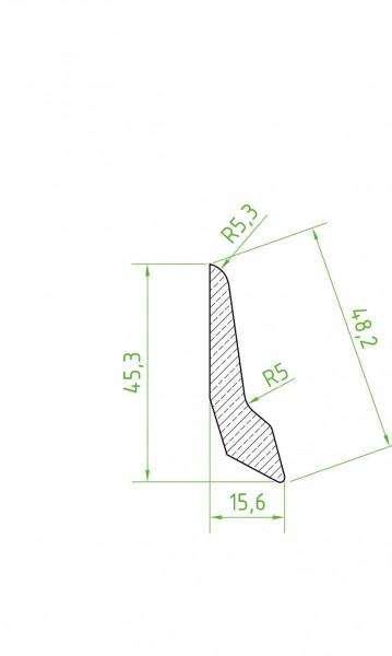 Sockelleiste massiv MGM 45 Lärche lackiert 15x46x2400/2700m