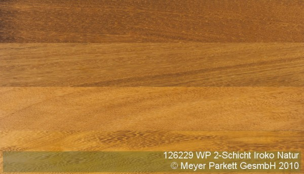 Wood Perfect Parkett 2-Schicht Riemen Iroko Natur, lackiert