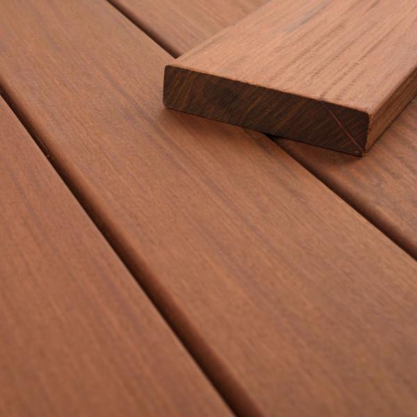 FANO Holz Terrassendiele Ipe 90 mm, Teak-farbgeoelt, glatt